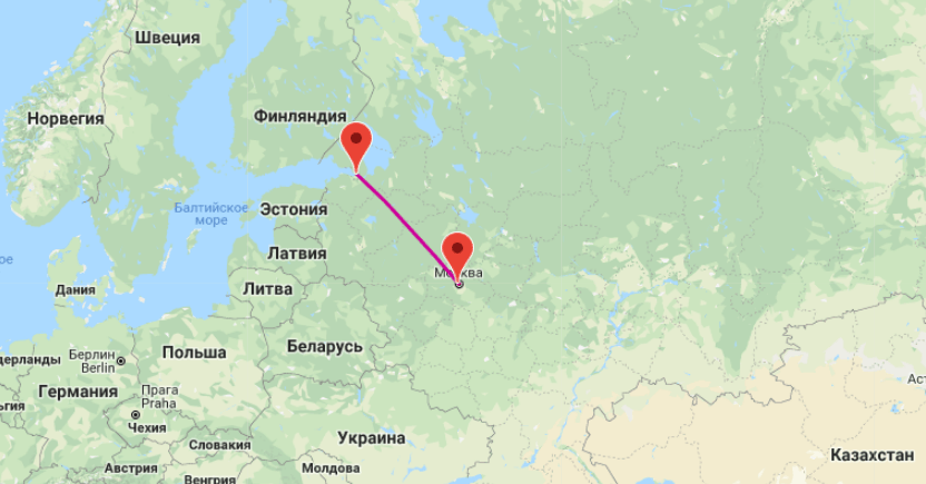Перелет между Москвой и Питером